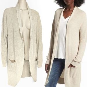 Bp Long Open Rib Knit Oatmeal Cardigan Sz L